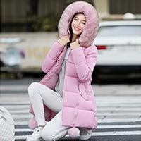 2016冬季新款韩版加厚瘦身大毛领羽绒棉女中长款斗篷型A字棉流行