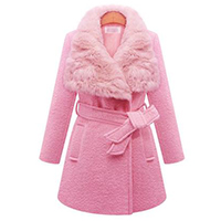 2016冬装新款呢外套欧美大码女装毛领长款毛呢大衣毛呢外套