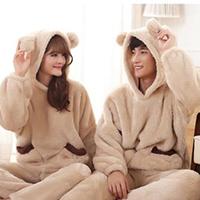 包邮冬季法兰绒情侣睡衣拼接色长袖裤男女孩睡衣羊羔绒家居服套装