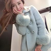 韩版冬装狐狸毛长袖修身羊毛呢外套女中长款加厚宽松呢子大衣显瘦